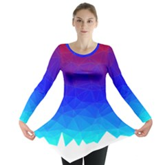 Gradient Red Blue Landfill Long Sleeve Tunic