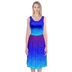 Gradient Red Blue Landfill Midi Sleeveless Dress