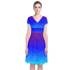 Gradient Red Blue Landfill Short Sleeve Front Wrap Dress