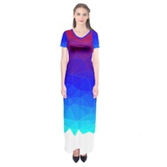 Gradient Red Blue Landfill Short Sleeve Maxi Dress