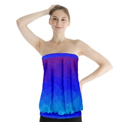 Gradient Red Blue Landfill Strapless Top