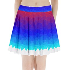 Gradient Red Blue Landfill Pleated Mini Skirt