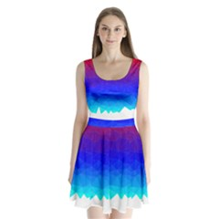 Gradient Red Blue Landfill Split Back Mini Dress