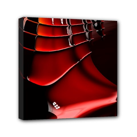 Red Black Fractal Mathematics Abstract Mini Canvas 6  X 6