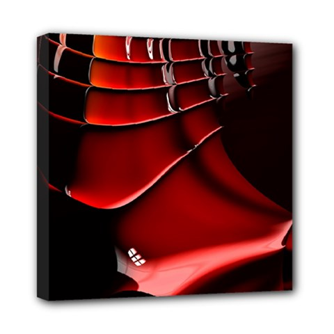 Red Black Fractal Mathematics Abstract Mini Canvas 8  X 8