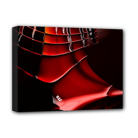 Red Black Fractal Mathematics Abstract Deluxe Canvas 16  X 12