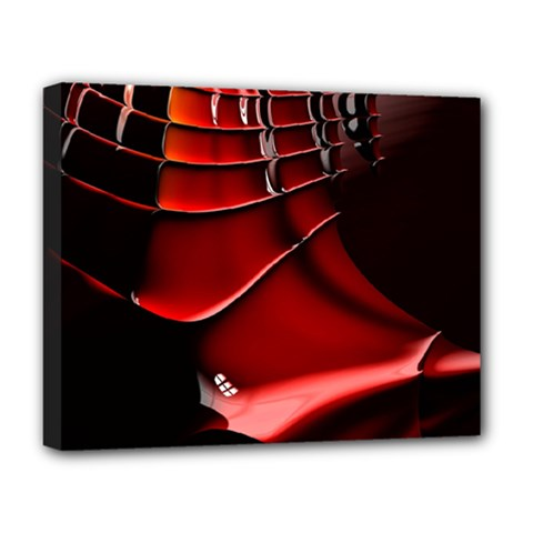 Red Black Fractal Mathematics Abstract Deluxe Canvas 20  X 16