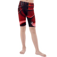 Red Black Fractal Mathematics Abstract Kids  Mid Length Swim Shorts
