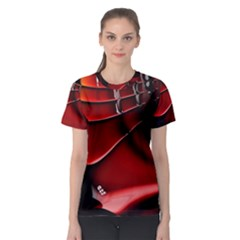 Red Black Fractal Mathematics Abstract Women s Sport Mesh Tee