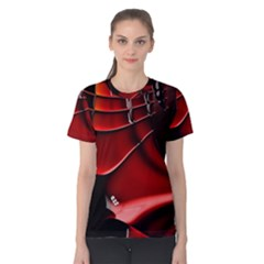 Red Black Fractal Mathematics Abstract Women s Cotton Tee