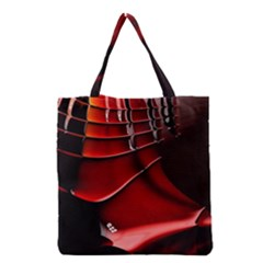 Red Black Fractal Mathematics Abstract Grocery Tote Bag