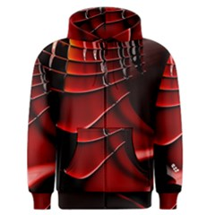 Red Black Fractal Mathematics Abstract Men s Zipper Hoodie