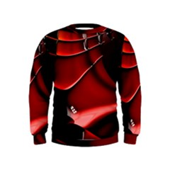 Red Black Fractal Mathematics Abstract Kids  Sweatshirt