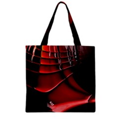 Red Black Fractal Mathematics Abstract Zipper Grocery Tote Bag