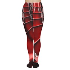 Red Black Fractal Mathematics Abstract Women s Tights