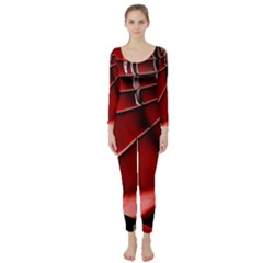 Red Black Fractal Mathematics Abstract Long Sleeve Catsuit