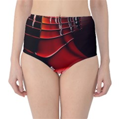 Red Black Fractal Mathematics Abstract High Waist Bikini Bottoms