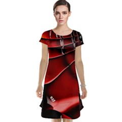 Red Black Fractal Mathematics Abstract Cap Sleeve Nightdress