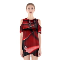 Red Black Fractal Mathematics Abstract Shoulder Cutout One Piece