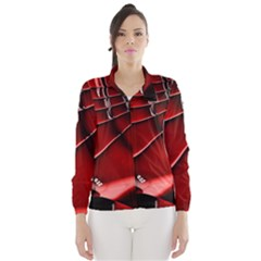 Red Black Fractal Mathematics Abstract Wind Breaker (women)
