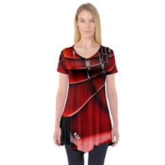 Red Black Fractal Mathematics Abstract Short Sleeve Tunic