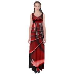 Red Black Fractal Mathematics Abstract Empire Waist Maxi Dress