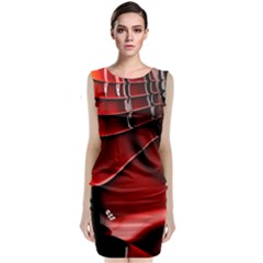 Red Black Fractal Mathematics Abstract Classic Sleeveless Midi Dress