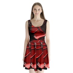 Red Black Fractal Mathematics Abstract Split Back Mini Dress