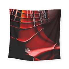 Red Black Fractal Mathematics Abstract Square Tapestry (small)