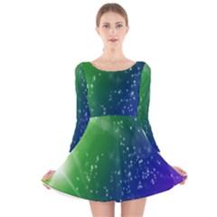 Shiny Sparkles Star Space Purple Blue Green Long Sleeve Velvet Skater Dress
