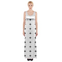 Sign Cross Plus Black Maxi Thigh Split Dress