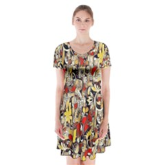 My Fantasy World 38 Short Sleeve V-neck Flare Dress