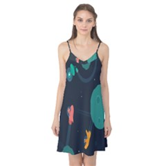 Space Illustration Irrational Race Galaxy Planet Blue Sky Star Ufo Camis Nightgown