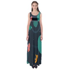 Space Illustration Irrational Race Galaxy Planet Blue Sky Star Ufo Empire Waist Maxi Dress