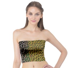 Peacock Bird Feather Gold Blue Brown Tube Top