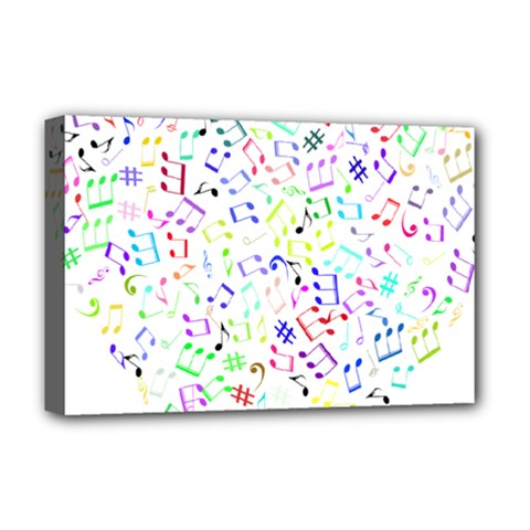 Prismatic Musical Heart Love Notes Rainbow Deluxe Canvas 18  x 12