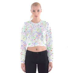 Prismatic Musical Heart Love Notes Rainbow Women s Cropped Sweatshirt