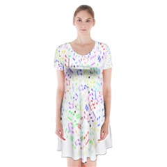 Prismatic Musical Heart Love Notes Rainbow Short Sleeve V-neck Flare Dress