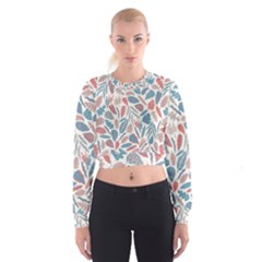 Spencer Leaf Floral Purple Pink Blue Rainbow Women s Cropped Sweatshirt