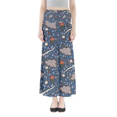 Spring Flower Floral Rose Rain Blue Grey Cloud Water Maxi Skirts