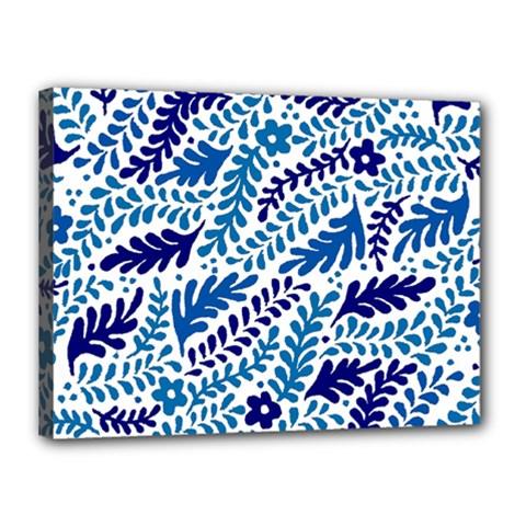 Spring Flower Leaf Blue Canvas 16  x 12