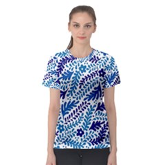 Spring Flower Leaf Blue Women s Sport Mesh Tee