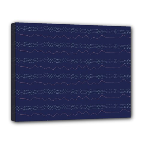 Summers Night Wave Chevron Blue Canvas 14  x 11