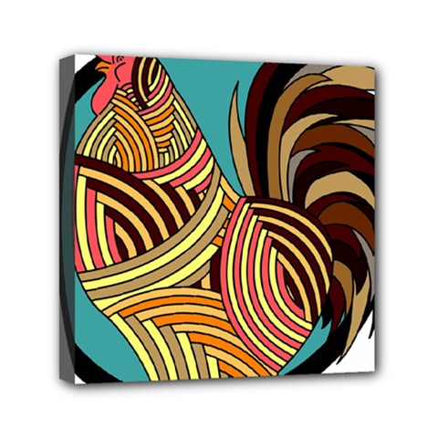 Rooster Poultry Animal Farm Mini Canvas 6  X 6