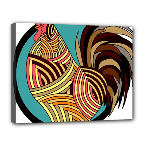 Rooster Poultry Animal Farm Canvas 14  X 11
