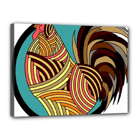 Rooster Poultry Animal Farm Canvas 16  X 12