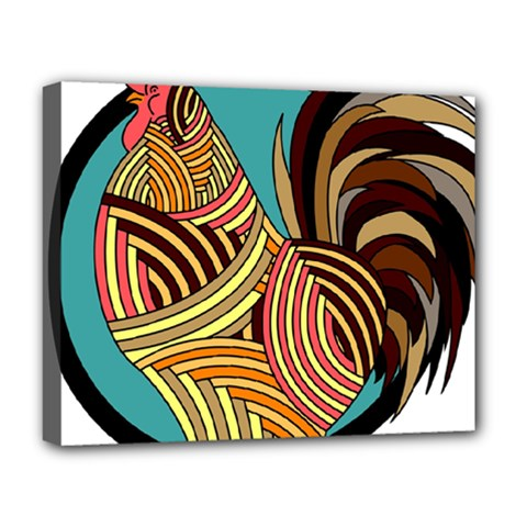Rooster Poultry Animal Farm Deluxe Canvas 20  X 16