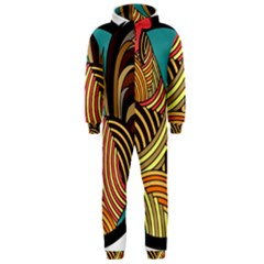 Rooster Poultry Animal Farm Hooded Jumpsuit (men)