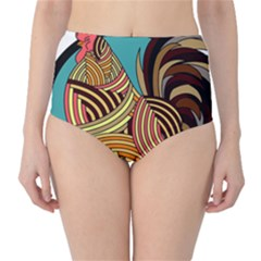 Rooster Poultry Animal Farm High Waist Bikini Bottoms