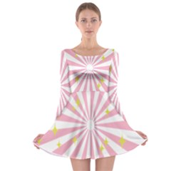 Star Pink Hole Hurak Long Sleeve Skater Dress